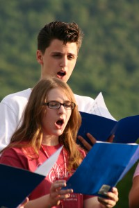 singers outdoors at summer music camp